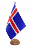 Iceland Desk / Table Flag with wooden stand and base